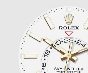 The 42 mm fake Rolex Sky-dweller 326138 watches have white dials.