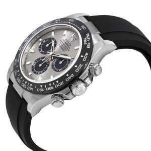 The comfortable copy Rolex Cosmograph Daytona 116519LN watches have black rubber straps.