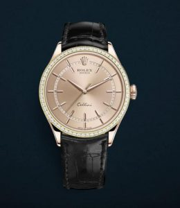 The superb fake Rolex Cellini Time 50705RBR watches are made from everose gold.