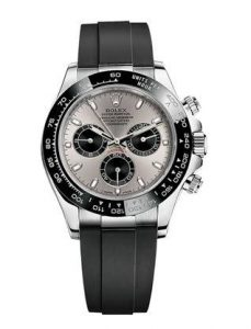 The luxury fake Rolex Cosmograph Daytona 116519LN watches are made from white gold.