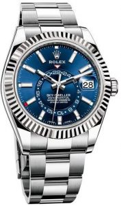 The durable fake Rolex Sky-Dweller 326934 watches are made from white gold and Oystersteel.