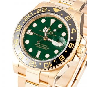 The 40 mm replica Rolex GMT-Master II 116718LN watches have green dials.