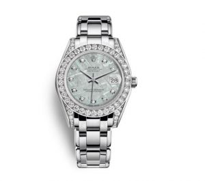 The luxury fake Rolex Pearlmaster 34 81159 watches are made from white gold and diamonds.