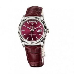 The comfortable fake Rolex Day-Date 36 118139 watches have wine red alligator leather straps.