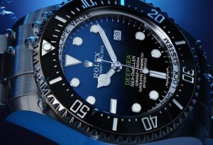 The 44 mm copy Rolex Sea-Dweller Deepsea 126660 watches have D-blue dials.