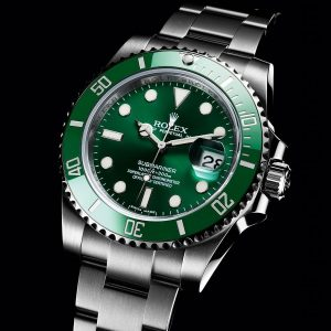The 40 mm fake Rolex Submariner Date 116610LV watches have white luminant hour marks and hands and large date windows.