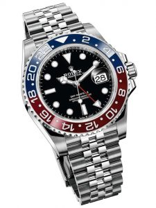 The 40 mm replica Rolex GMT-Master II 126710BLRO watches have black dials.