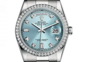 The 36 mm replica Rolex Day-Date 36 118346 watches have ice blue dials.