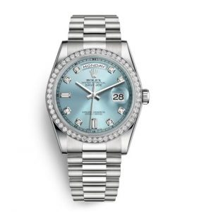 The luxury copy Rolex Day-Date 36 118346 watches are made from platinum.