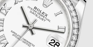 The 31 mm fake Rolex Datejust 31 278289RBR watches have white dials.