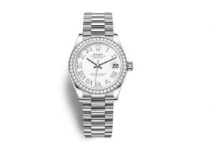 The luxury replica Rolex Datejust 31 278289RBR watches are made from white gold.