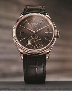 The luxury fake Rolex Cellini Dual Time Zone 50525 watches are made from 18ct everose gold.