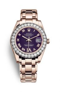 The luxury fake Rolex Pearlmaster 34 81285 watches are made from everose gold and diamonds.