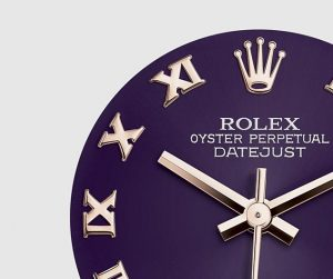 The 34 mm replica Rolex Pearlmaster 34 81285 watches have purple dials.