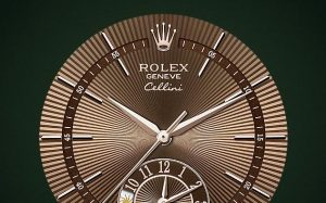 The 39 mm copy Rolex Cellini Dual Time 50525 watches have brown dials.