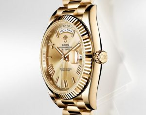 The 40 mm fake Rolex Day-Date 40 President watches have champagne dials.