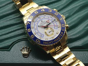 The gold replica Rolex Yacht-Master II 116688 watches have white dials.