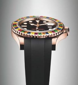 The 18ct everose gold copy watches have black rubber straps.