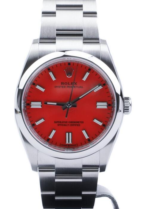 Online fake watches are distinctive for the coral red color.